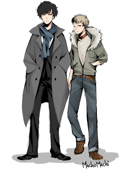 Trenches drawing animated. Sherlock holmes and dr