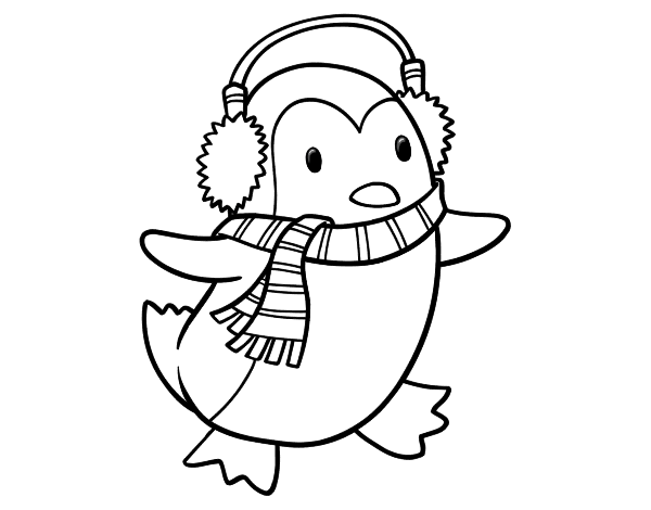 Drawing scarf color. Penguin with coloring page