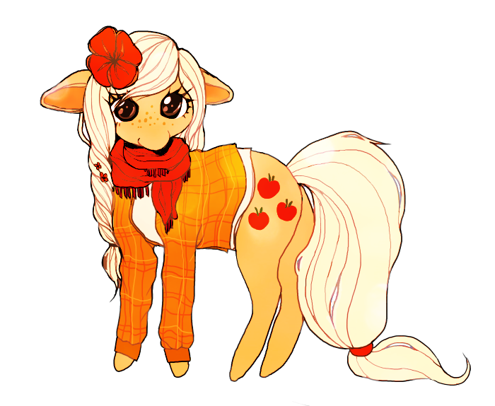 Drawing scarf different hairstyle. Alternate applejack artist