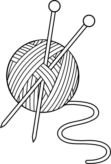 Drawing scarf knit. Yarn clipart black and