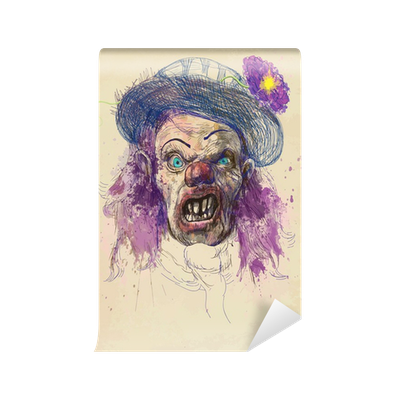 Drawing scary hair. Clown wall mural pixers