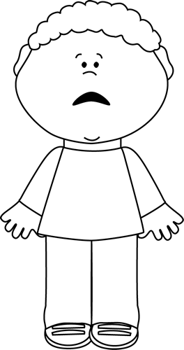 Drawing scary little kid. Black and white scared