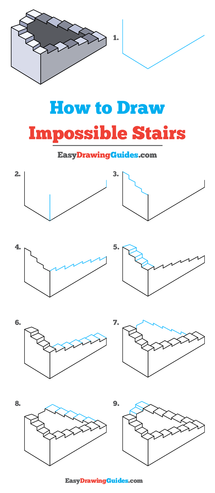 Illusions drawing stair. How to draw impossible