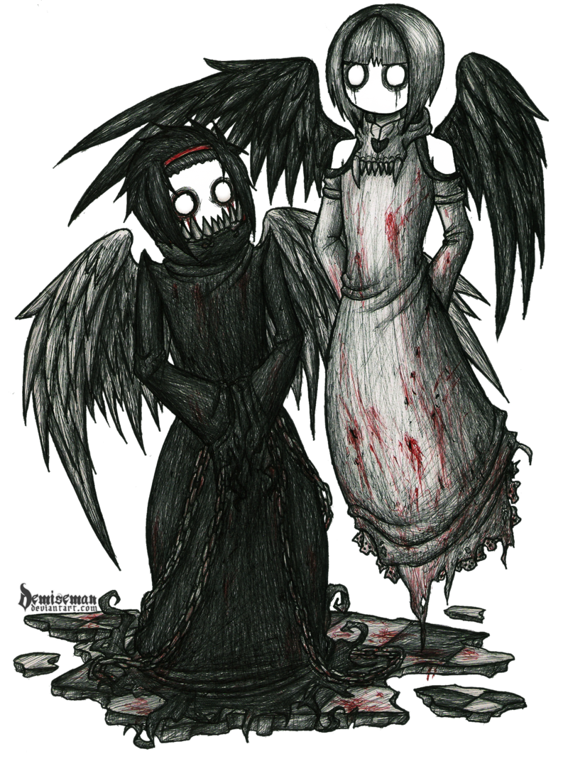 Demonic drawing gothic. Zetes and calais by