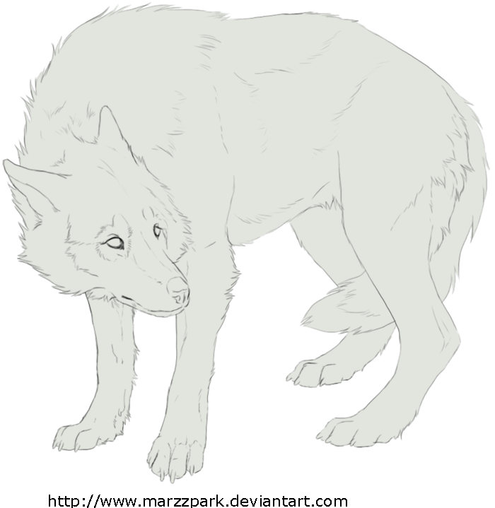 Drawing scary surrealism. Free lineart wolf by