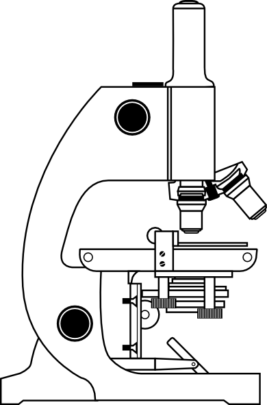 Drawing science side view. Microscope with labels clip