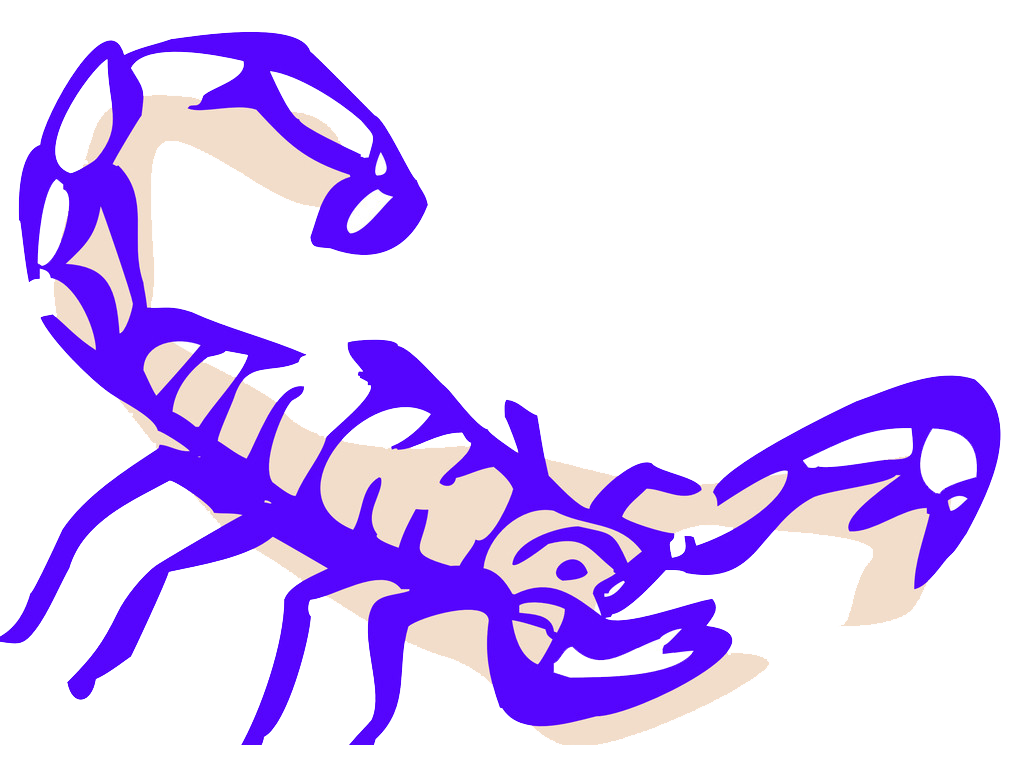 Drawing scorpion blue. Clip art exaggerated lines