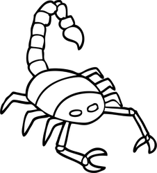 Drawing scorpions line. Detailed scorpion car stickers