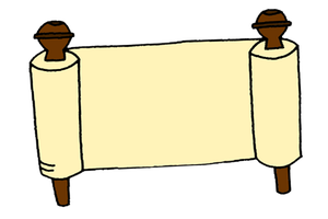 Drawing scrolls message. Jeremiah and the scroll