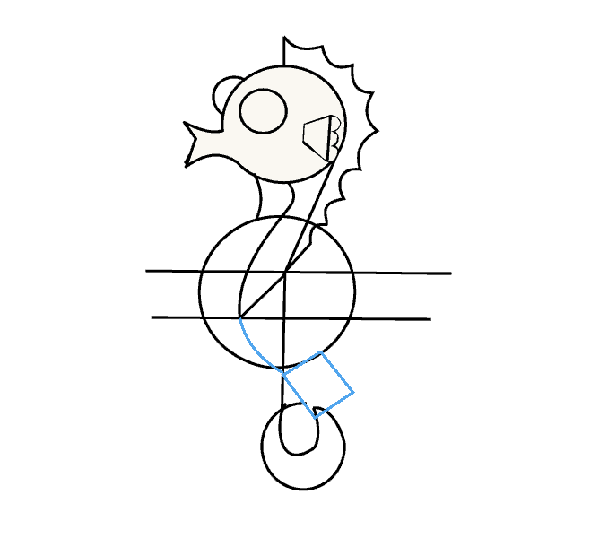 Drawing seahorse simple. How to draw a
