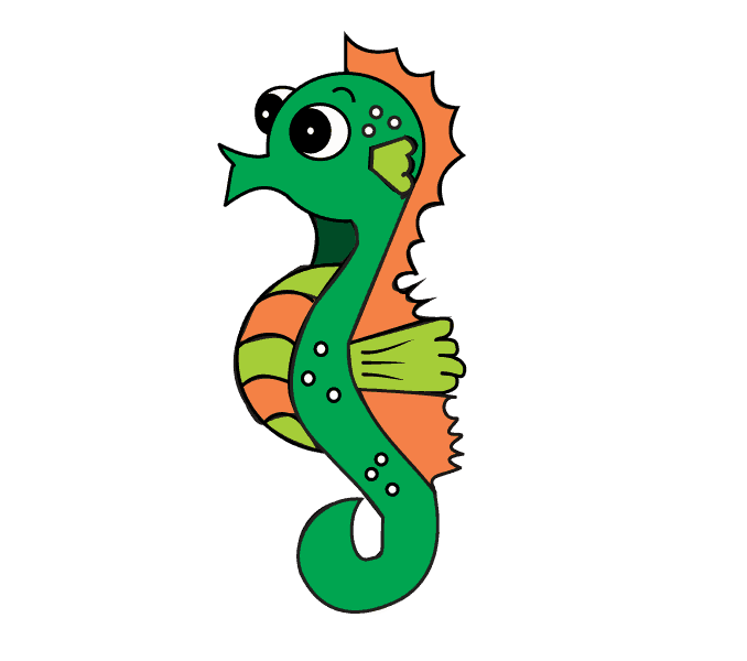 Drawing seahorse colorful. How to draw a