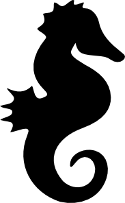 Drawing seahorse public domain. Silhouette clip art at