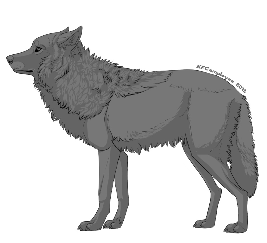 Drawing shade dog. Free shaded wolf lineart