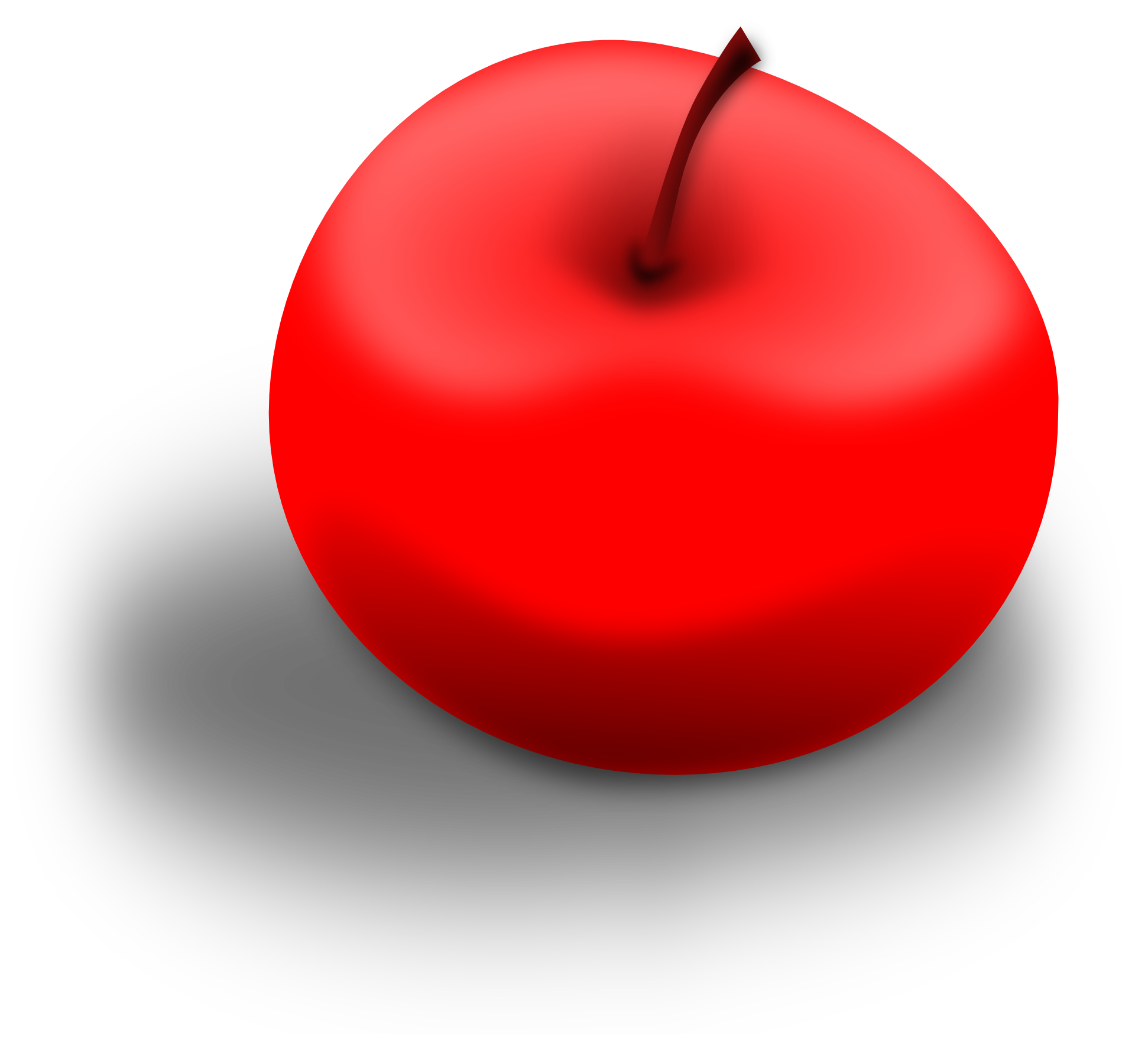 Drawing shade food. Of a red apple