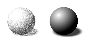 Drawing sphere shading. With dot and shadow