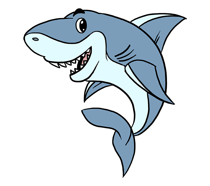 Drawing shark easy. Cartoon group with items