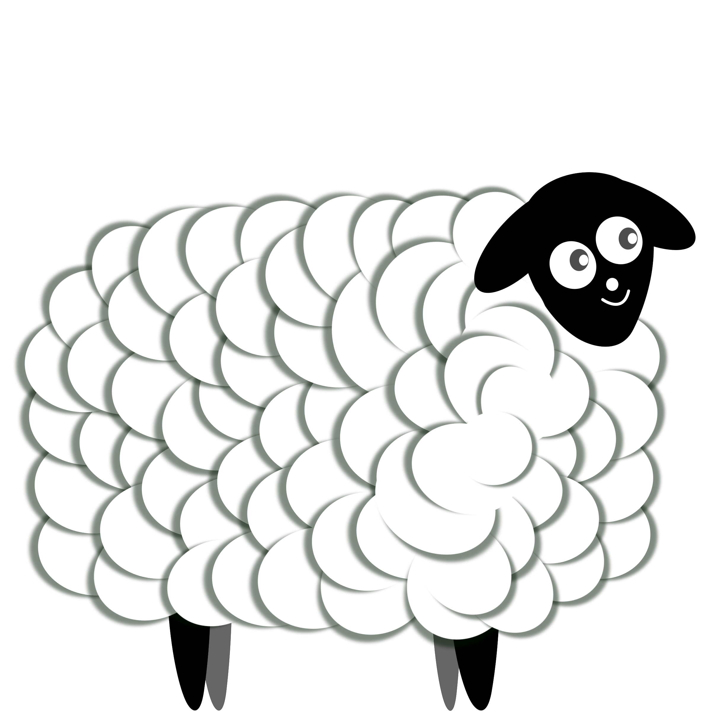 Drawing sheep fluffy. Clipart two color big