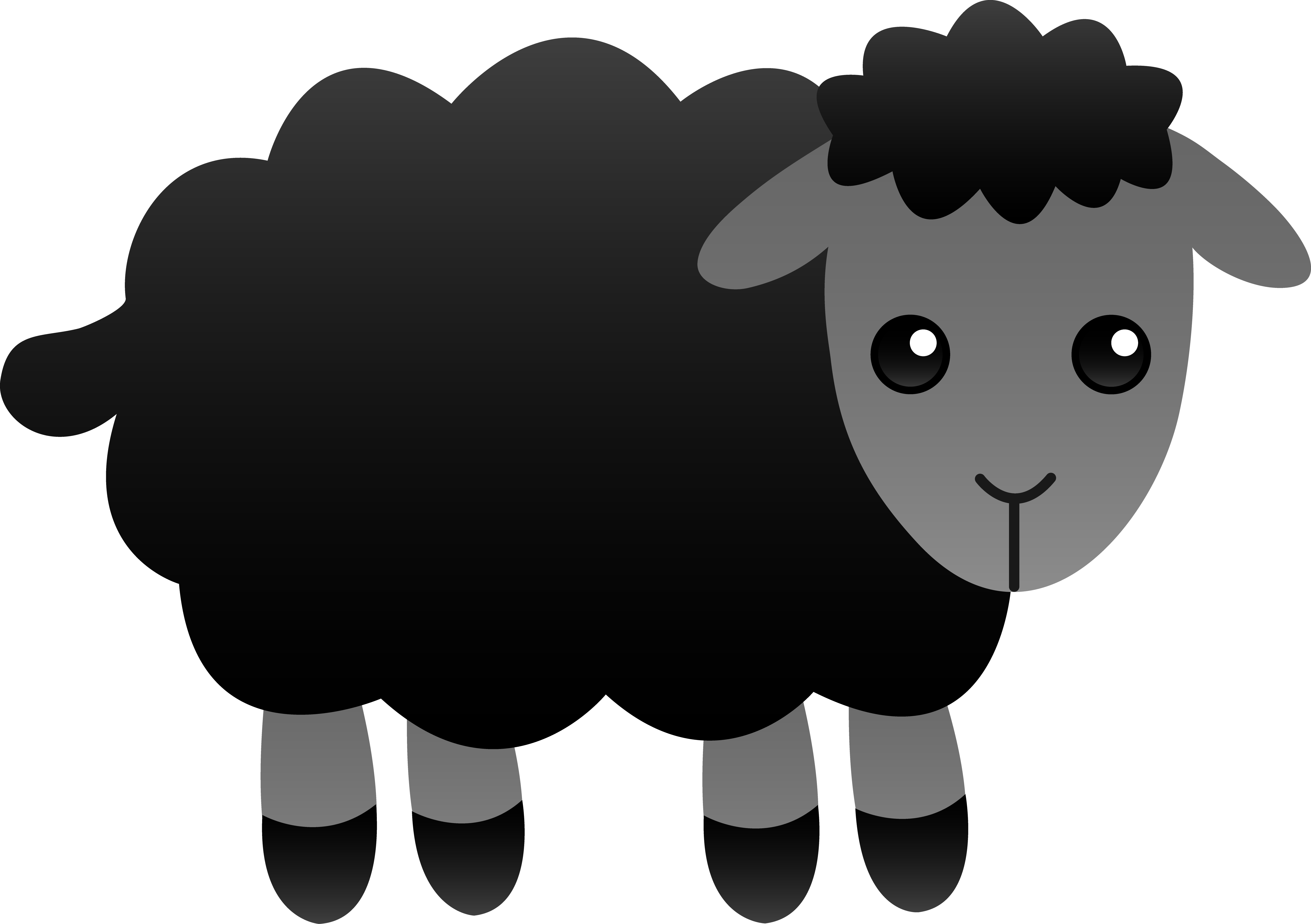 Drawing dice cute. Fluffy black sheep free