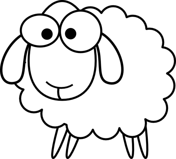 Drawing sheep line. Outline clip art vector