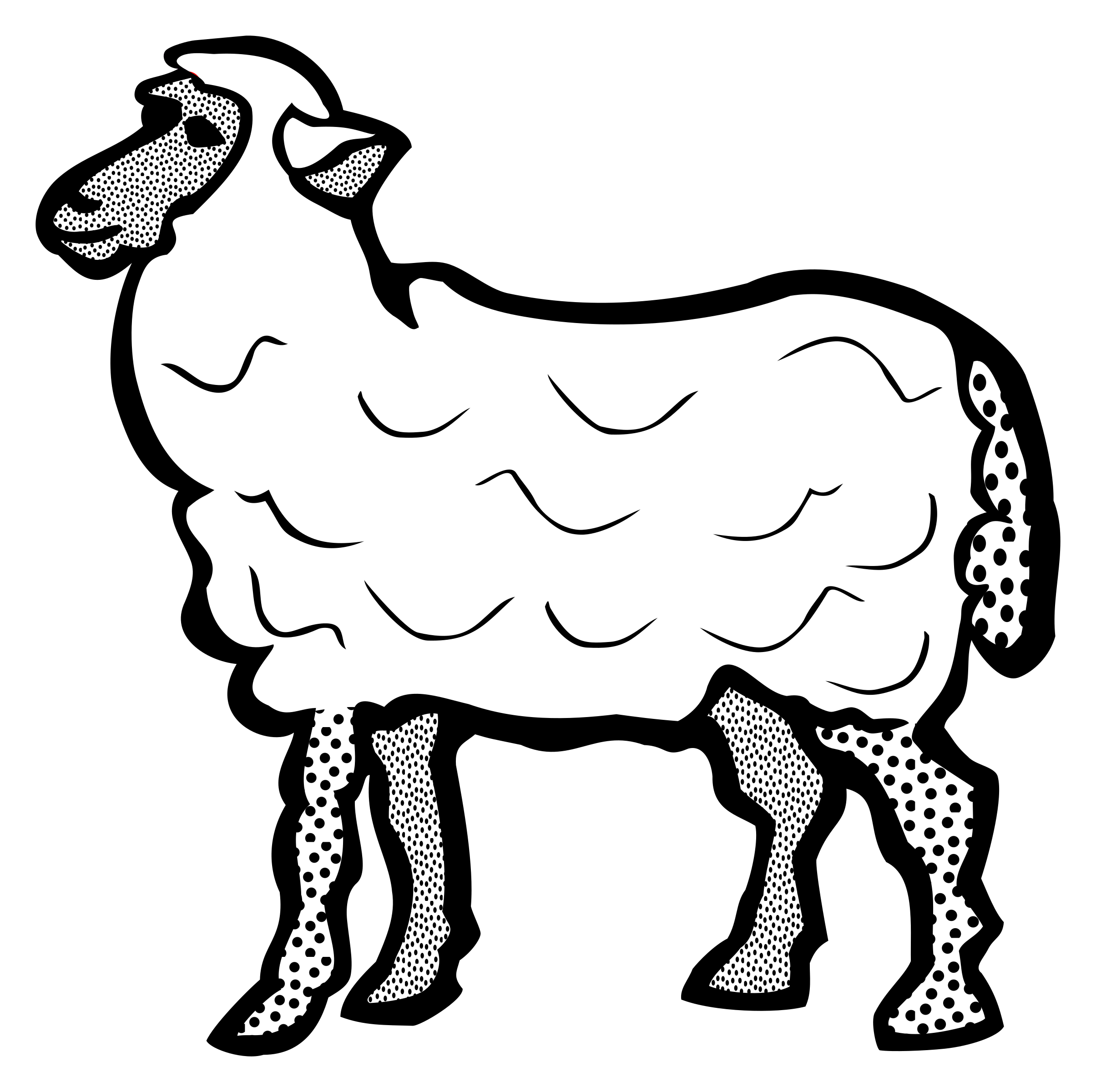 Drawing sheep small. Clipart lineart big image