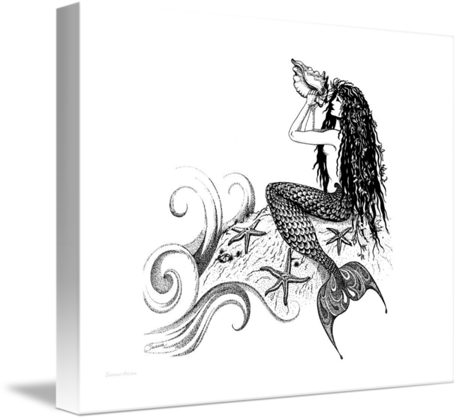Prehistoric drawing mermaid. Blowing a conch shell