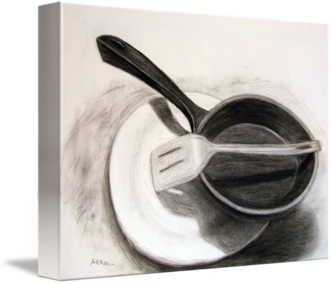 Drawing shell charcoal. Frying pan by julie