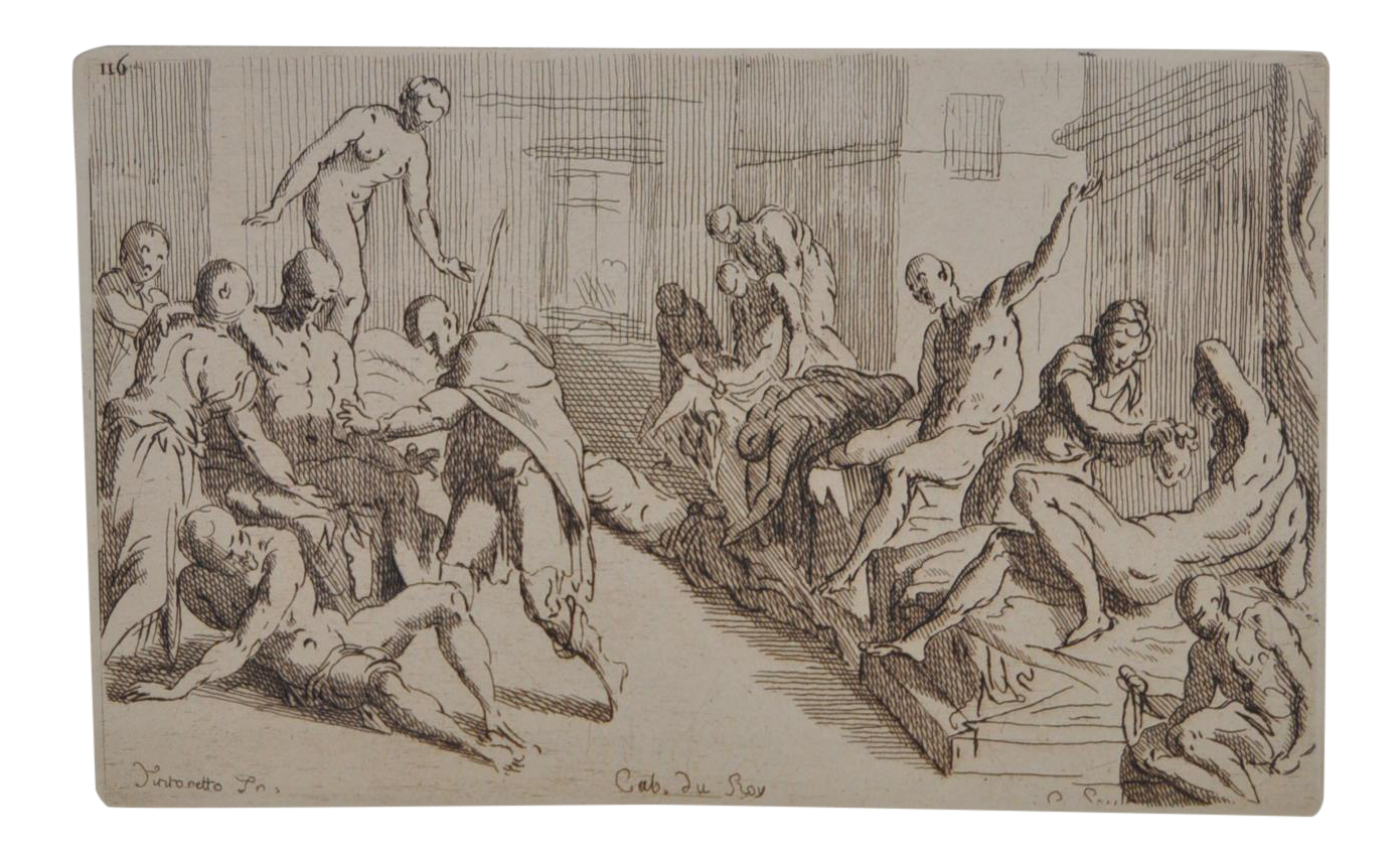 Etching drawing printmaking. Early th century cab