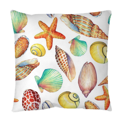 Drawing shells greeting card. Seamless pattern with underwater