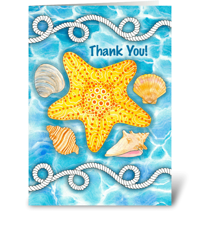 Drawing shells greeting card. Thank you for a