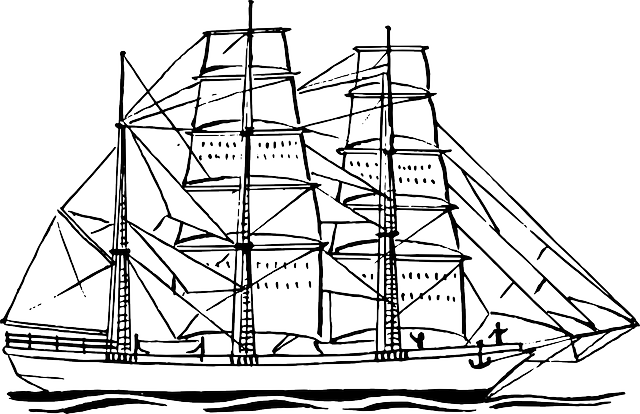Drawing ships. Sailing navy ship sailboat