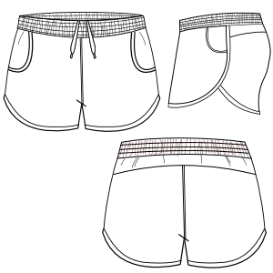 Drawing shorts. Short running fashion technical