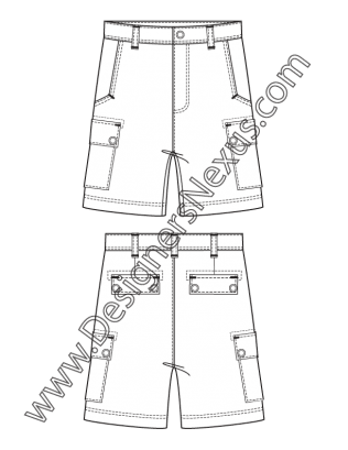 Drawing shorts male. Fashion flat sketch v