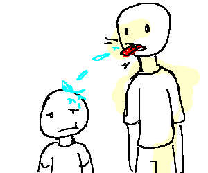Drawing shorts person. Tall man spits on