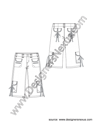 Pocket drawing welt. Bermuda shorts with side