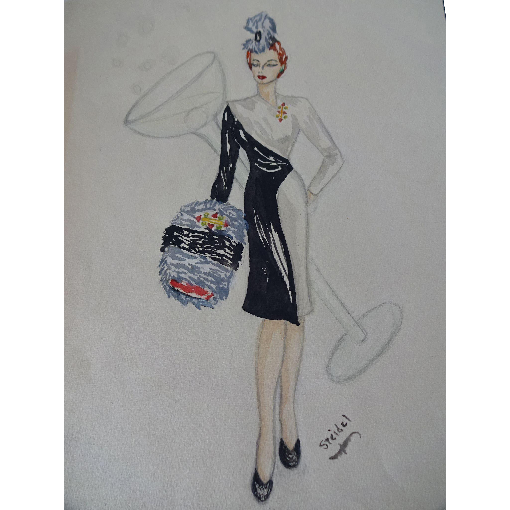Drawing silk fashion. Pencil watercolor plate vintage