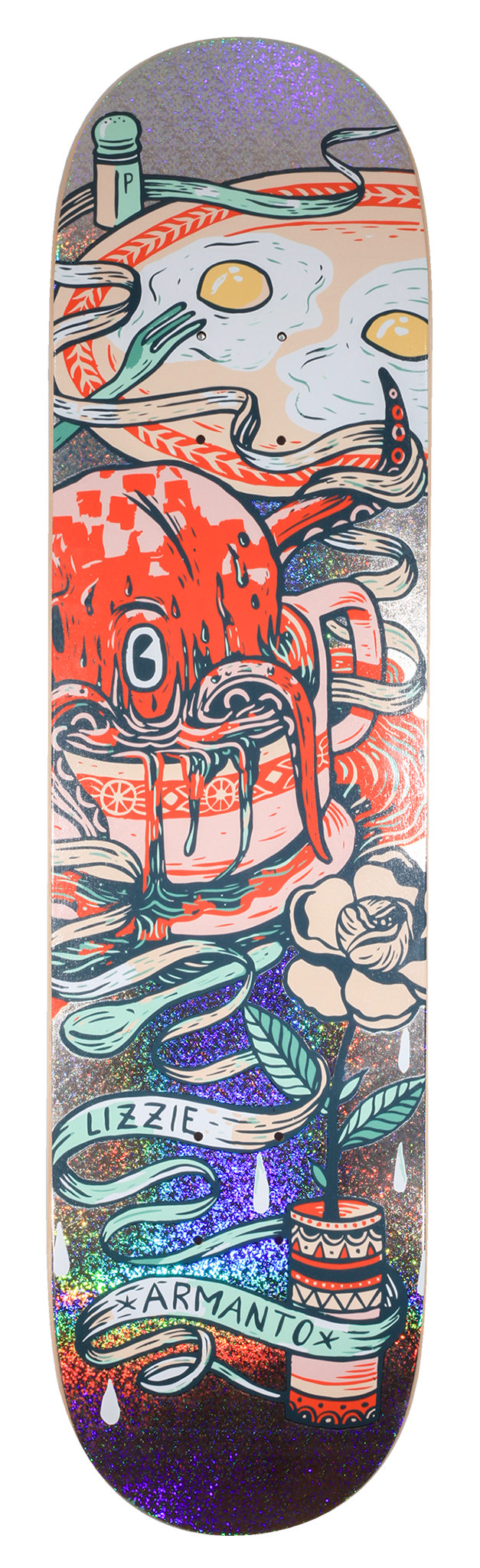 Drawing skateboard deck. Birdhouse lizzie armanto limited