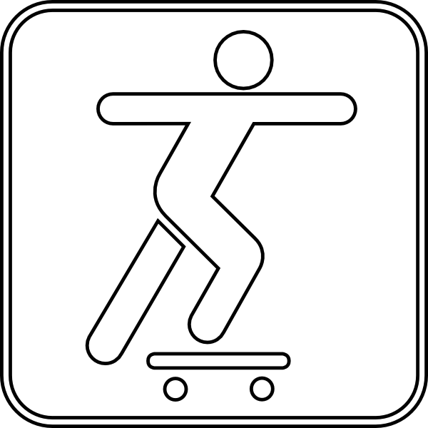 Drawing skateboard easy. Skateboarding symbol outline clip