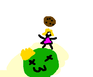 Drawing slime king. Blonde girl killed to