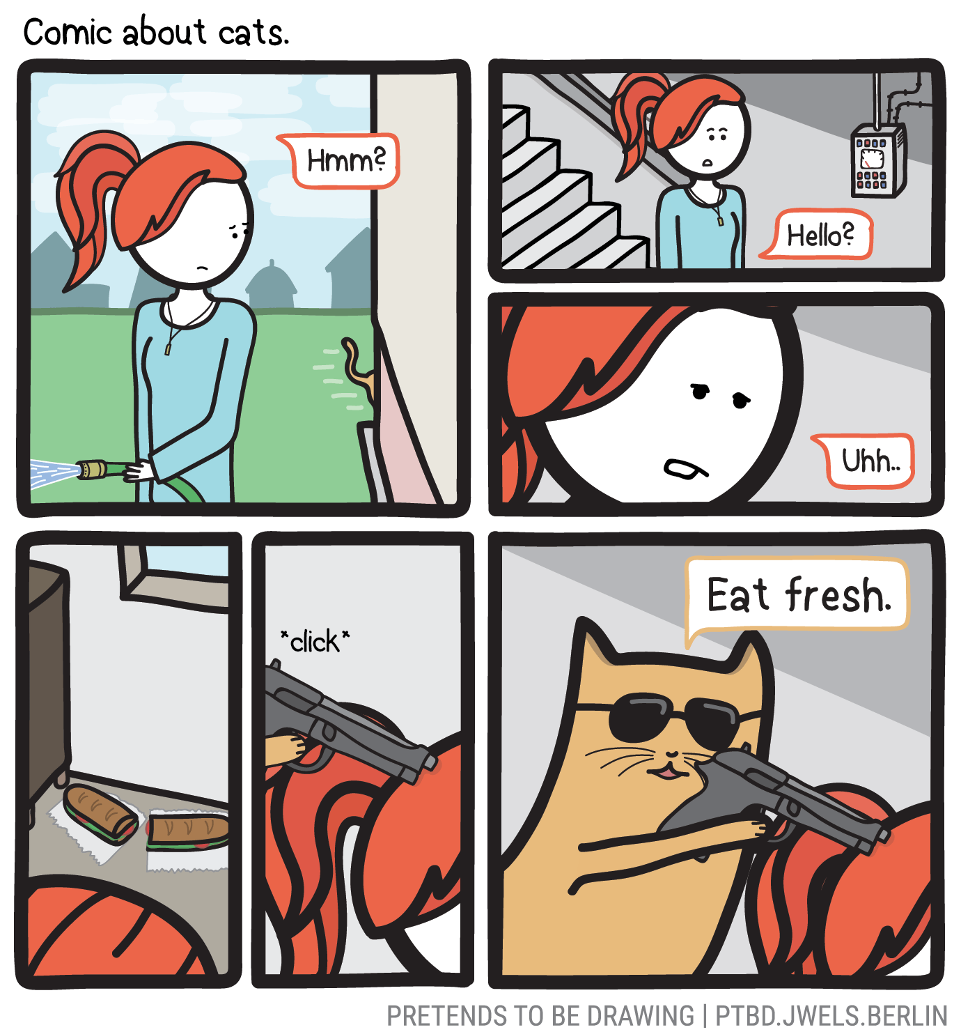Drawing smirk comic book. About cats pretends to