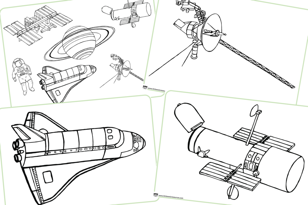 Drawing spaceships small. Free space colouring early