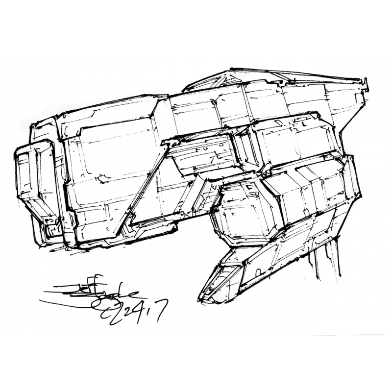 Drawing spaceships day. Sketch card original from