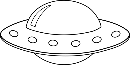 Drawing spaceships line. Collection of ufo