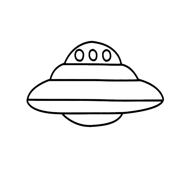 Drawing spaceships line. Flight child unidentified flying