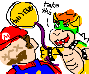 Drawing spelling. Bowser gives dead mario