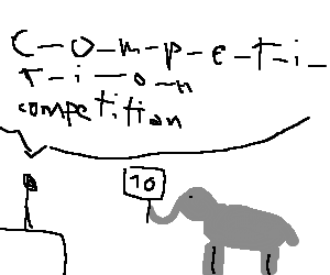 Drawing spelling. Competition and a elephant