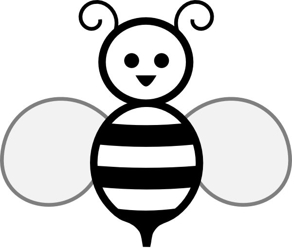 Drawing spelling white. Collection of bee