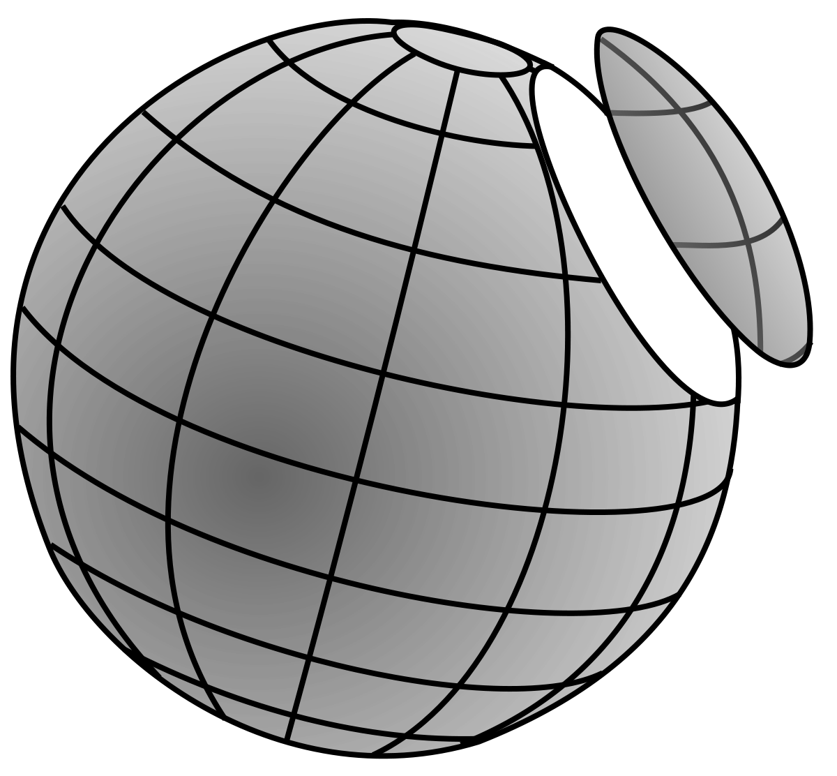 Drawing sphere crosshatch. Circle of a wikipedia