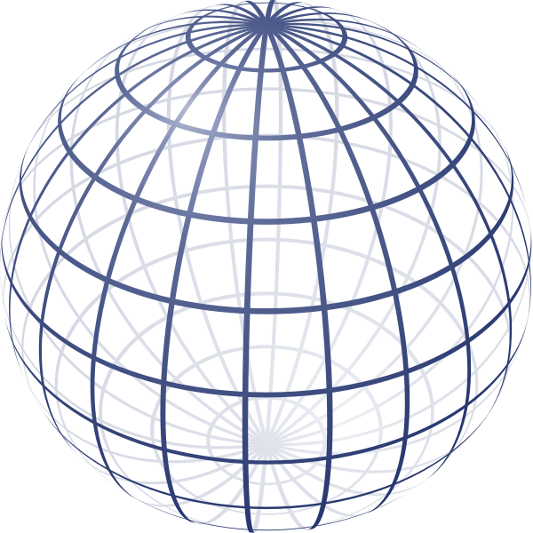 Drawing sphere lit. Wireframe perspective projection of