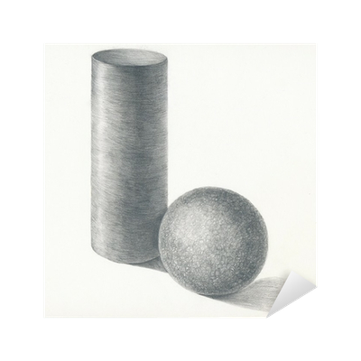 Drawing sphere pencil. Cylinder and technique sticker