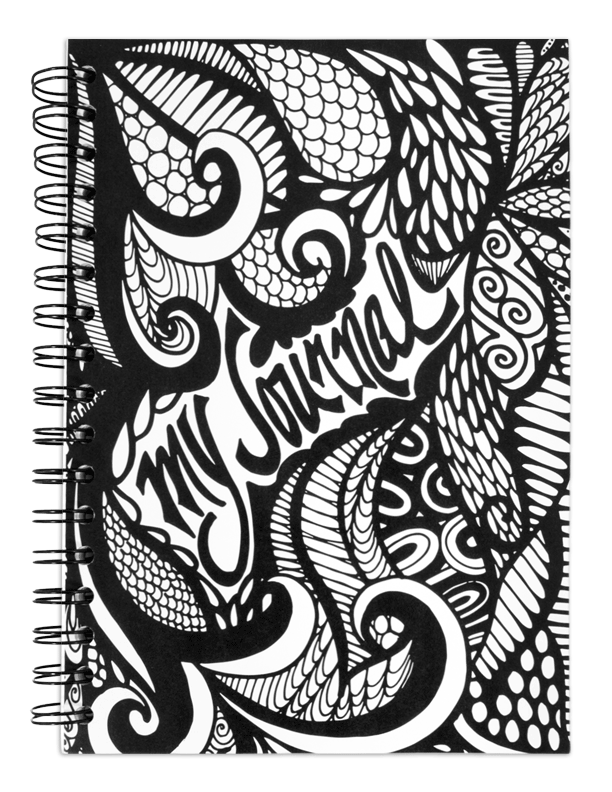 Drawing spiral doodling. My journal black and
